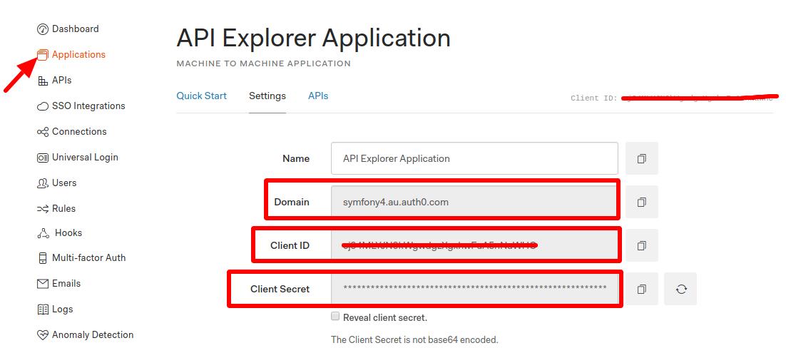 API Explorer Application page